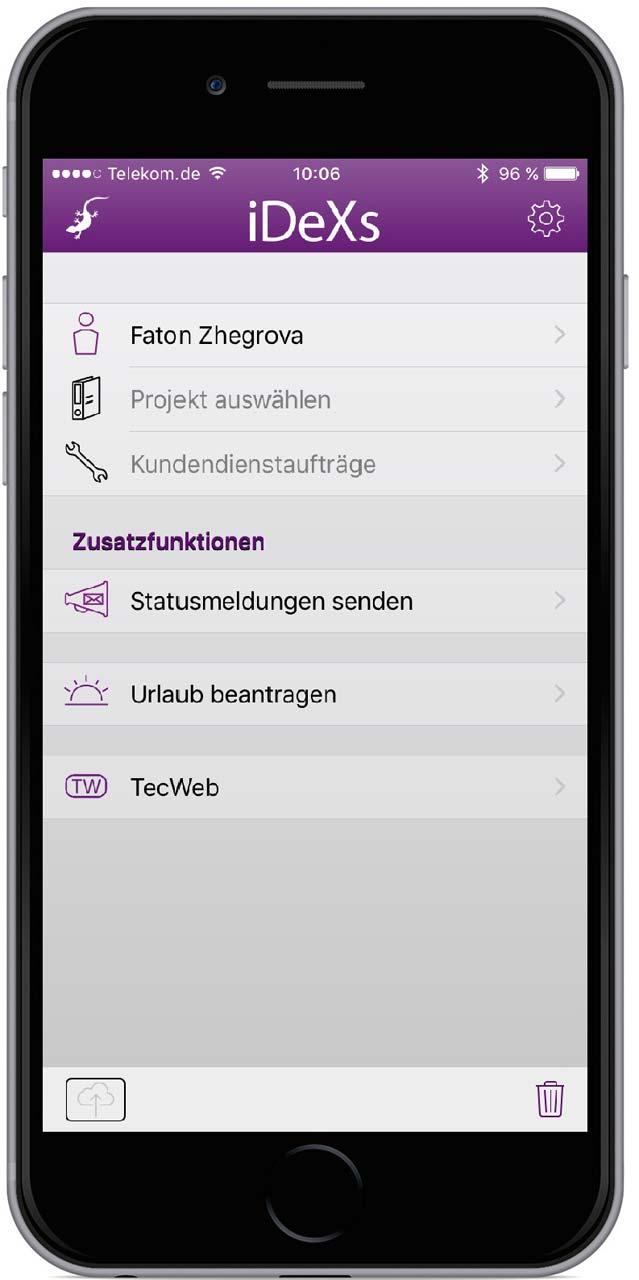 iDeXsPro Startbildschirm