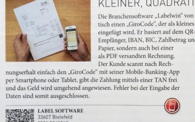 Bericht zum Thema Bezahlen mit dem GiroCode in SHK Profi 6 / 2015