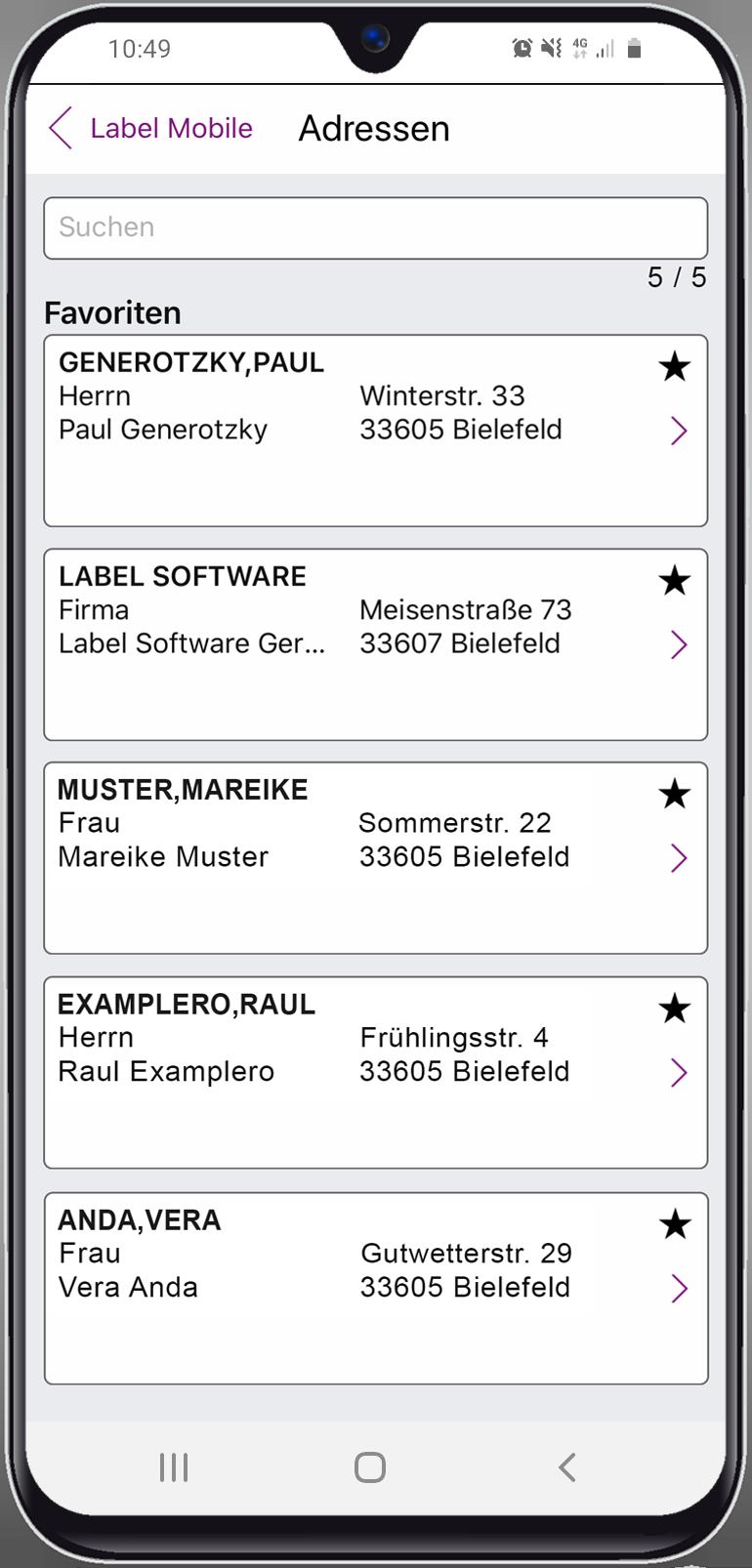 Label Mobile Adressdetails