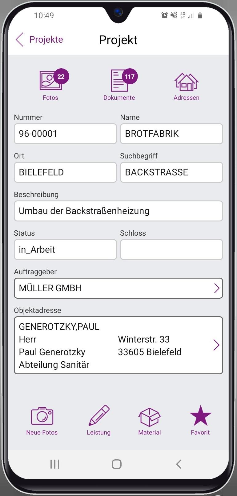 Label Mobile 2.0: Mobiler Kundendienst (Detailansicht eines Kundendienstauftrages)