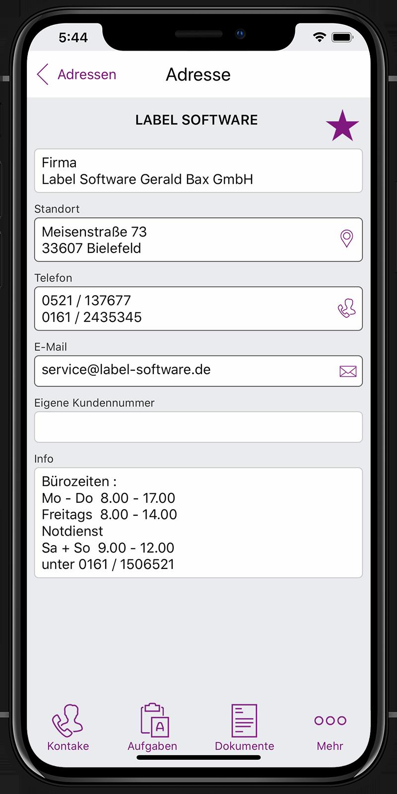 Label Mobile: Adress-Eintrag