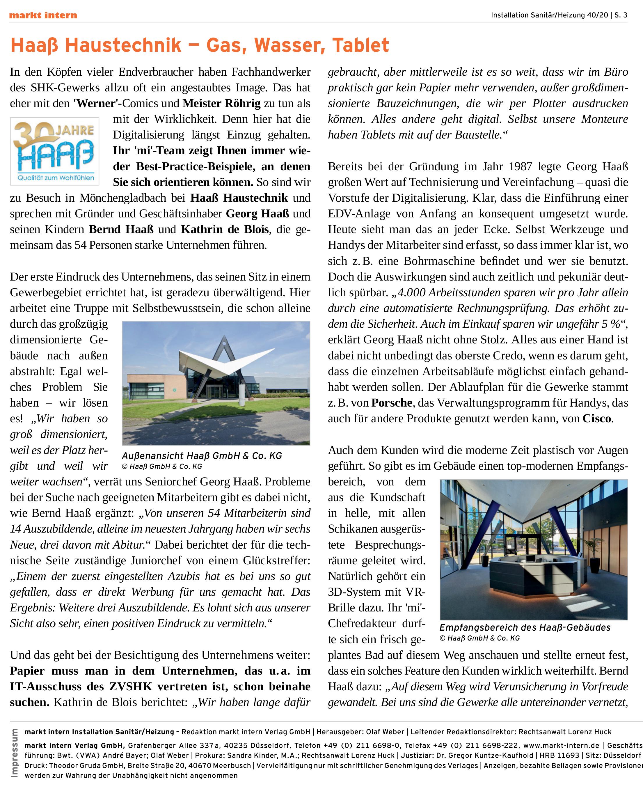Teil 1: Artikel in markt.intern über den Label-Software-Kunden Haaß Haustechnik