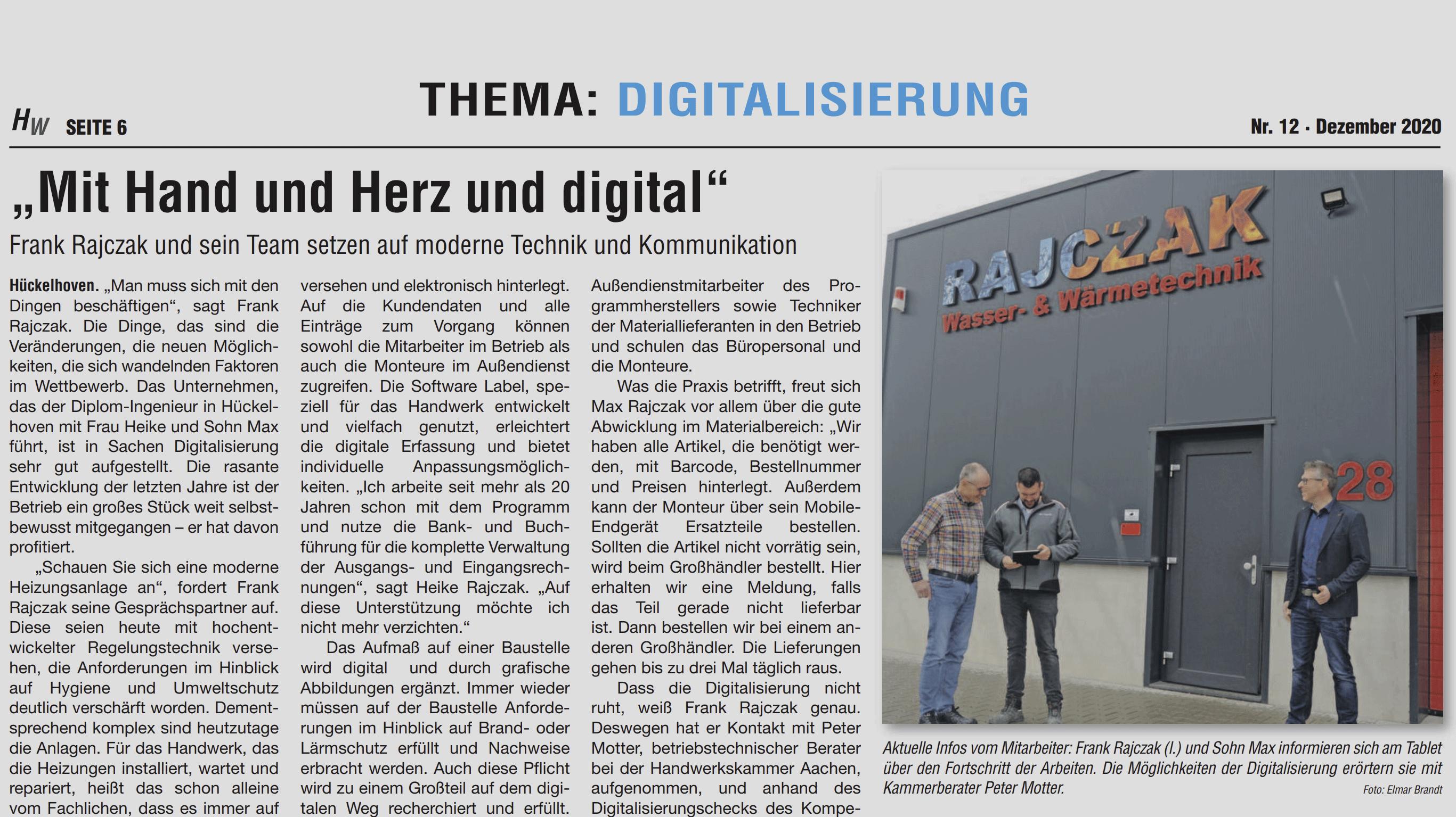 """Artikel """"Mit Hand und Herz und digital"""""""