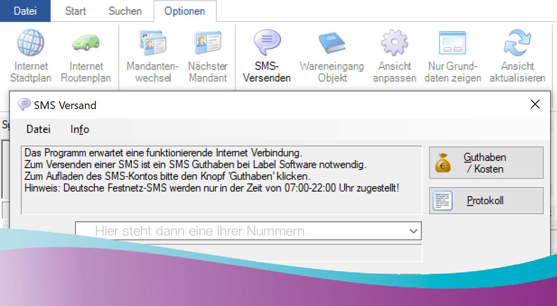 SMS-Versand: direkt aus der Labelwin-Software heraus über das Internet. Schnell und günstig.