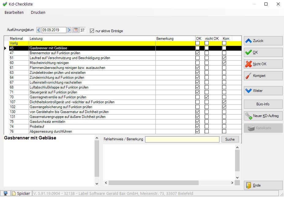 Labelwin: Kundendienst-Checkliste