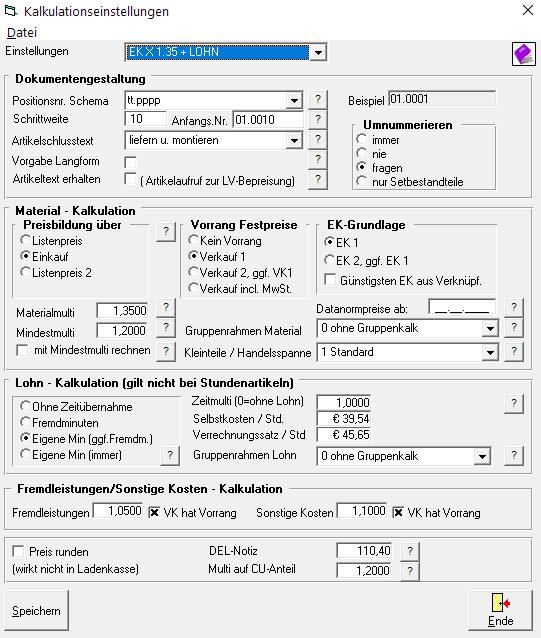 Labelwin Kalkulationseinstellungen