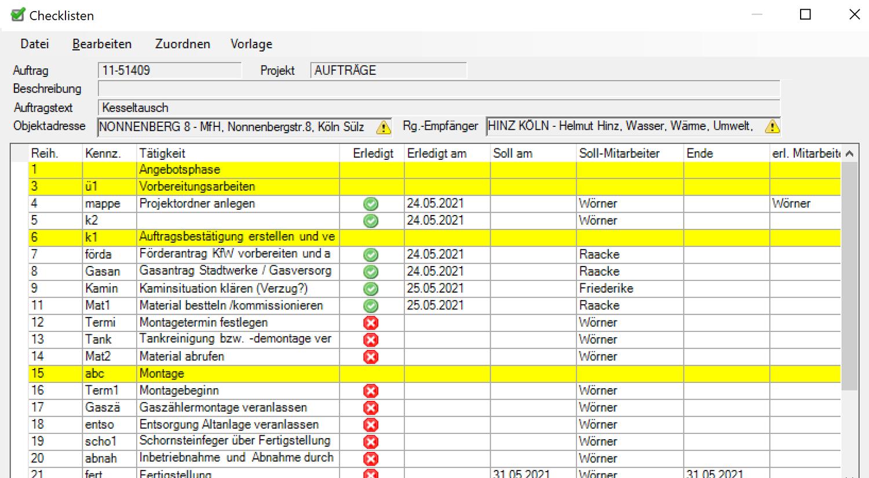 Labelwin: Kundendienst-Checklisten