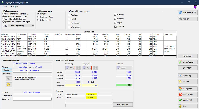 Labelwin: Rechnungseingangsprüfung
