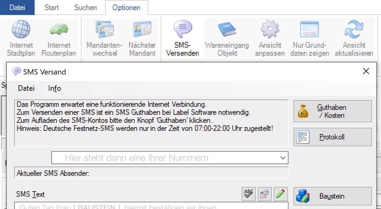 Labelwin: SMS-Versand