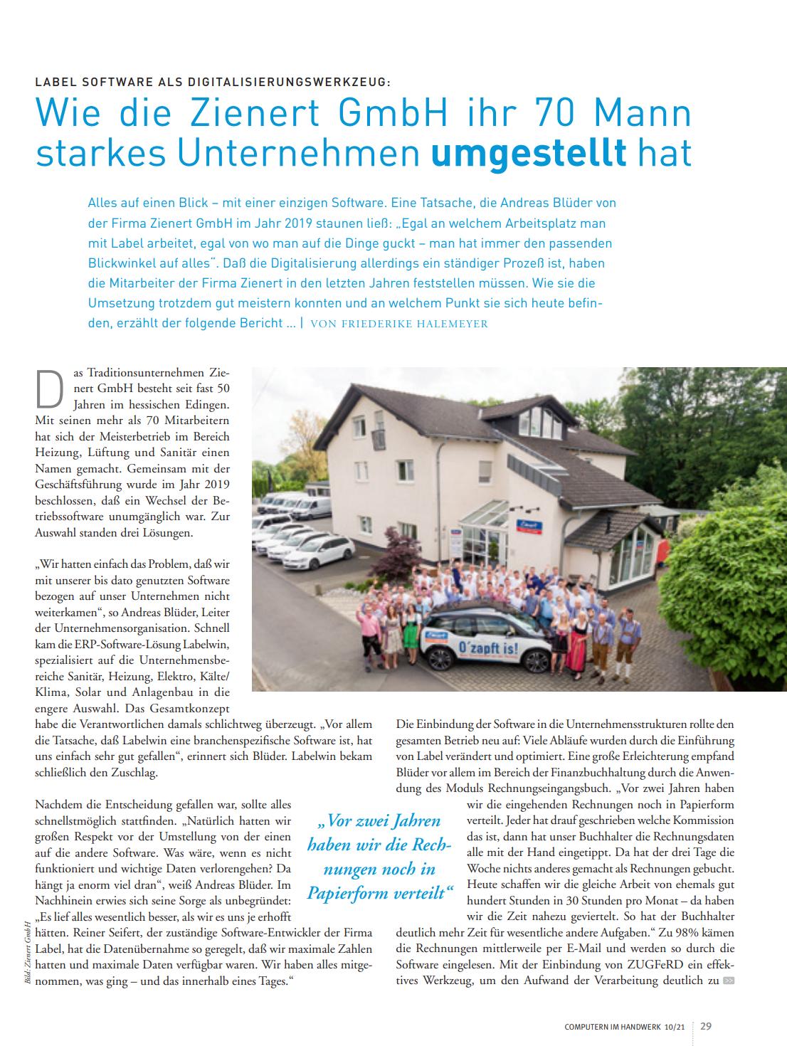 Wie die Zienert GmbH ihr 70 Mann starkes Unternehmen umgestellt hat